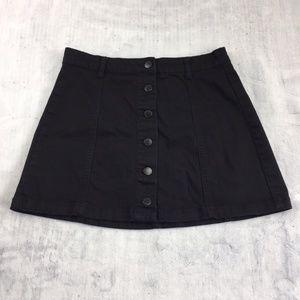 Forever 21 Mini Skirt Button Front Black Denim
